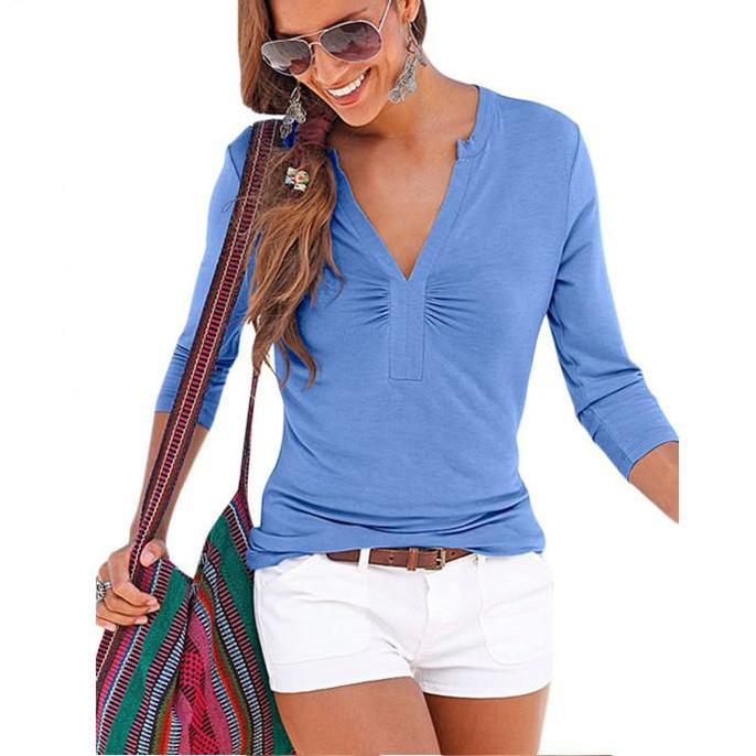 Light blue / Black long sleeve Girl's t-shirt femme V Neck tops shirts summer autumn women sexy clothes-Blouse-SheSimplyShops
