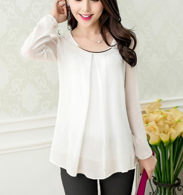 Elegant Brief Summer Blouse White Slim Fold Sheer Blouses Chiffon Shirt Women Tops-Blouse-SheSimplyShops