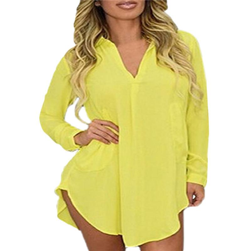 Sexy See Through Chiffon Long Sleeve Lapel Blouses Tops Mini Dress-Dress-SheSimplyShops