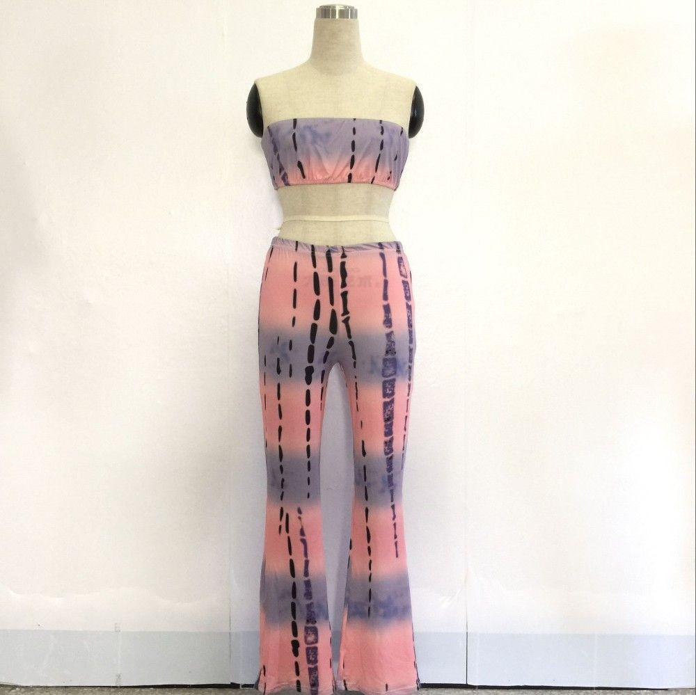 Adogirl Strapless 2 Piece Set Jumpsuit Women American Summer Crop Tops Wide Leg Pants Rompers Printed Playsuit 8 Colors-ROMPERS & JUMPSUITS-SheSimplyShops