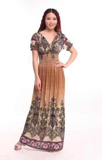 New Ladies Aztec Floral Tribal Kaftan Dress Women Gypsy Sundress bohemian maxi long dress-Dress-SheSimplyShops