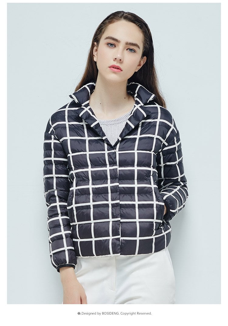 women goose down jacket short down coat alternate black and white blocks OL fashion ultra light high quality-Coats & Jackets-SheSimplyShops