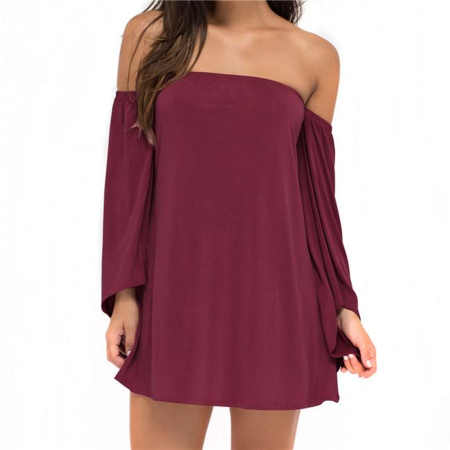 Fashion Women Neck Off Shoulder Loose Long Tops Strapless Bat-wing Party Beach Mini Dress-Dress-SheSimplyShops