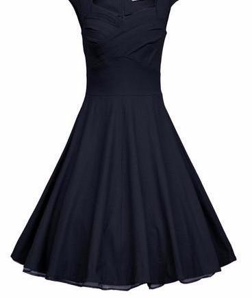 Elegant High Waist Retro Swing Dress-Dress-SheSimplyShops