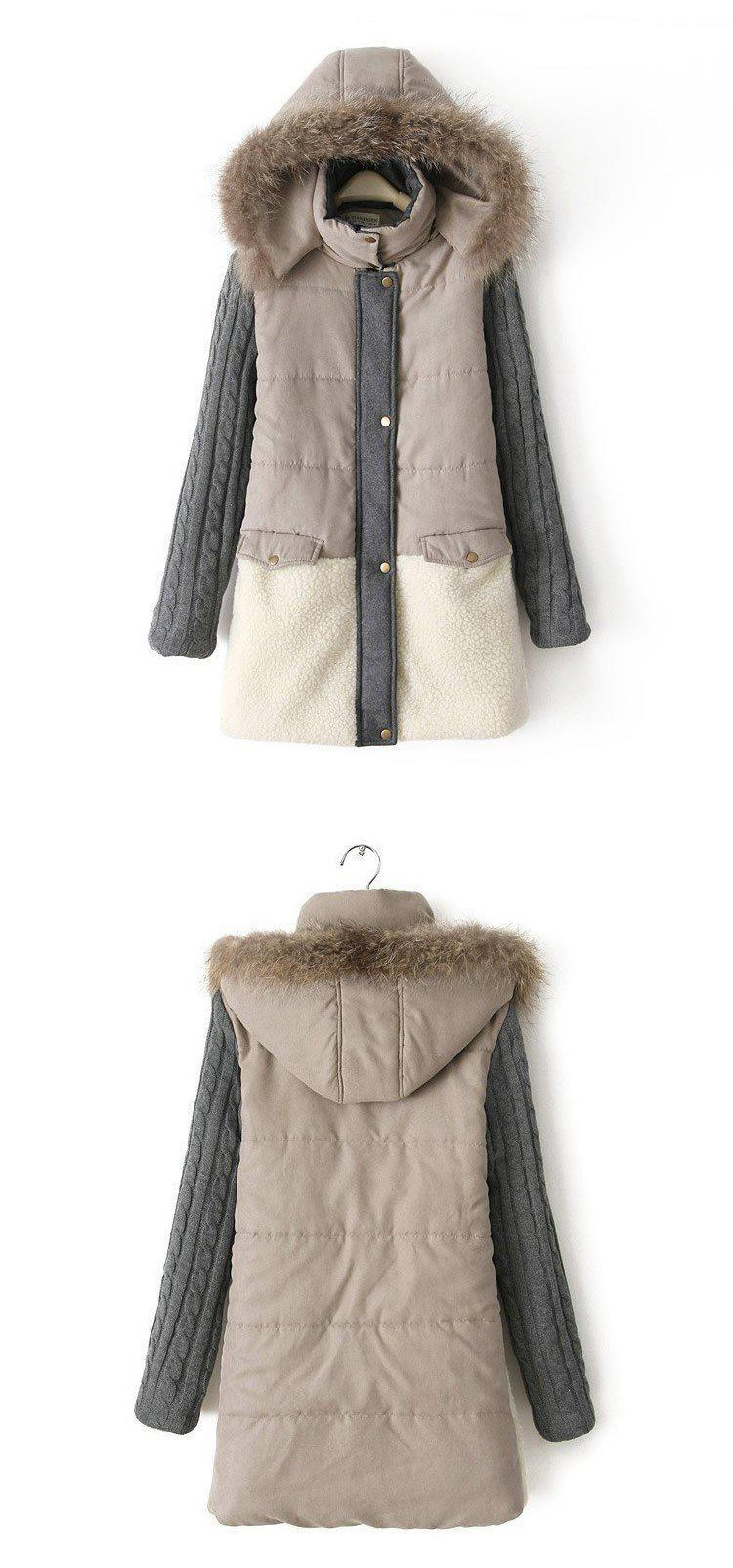 Fur Collar Wool Patchwork Winter Coat