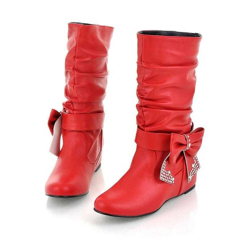 ENMAYER Big Size 34-44 Hot New Fashion Flat Boots Women Snow Boots and Slip-On Round Toe Women Winter Shoes Women-SLIPS-SheSimplyShops