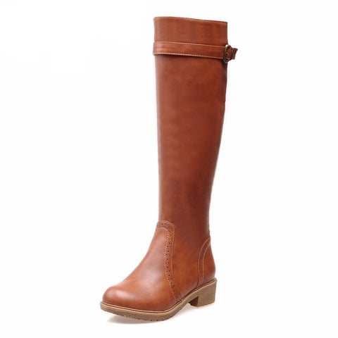Round Toe High-Knee Riding Boots-SheSimplyShops