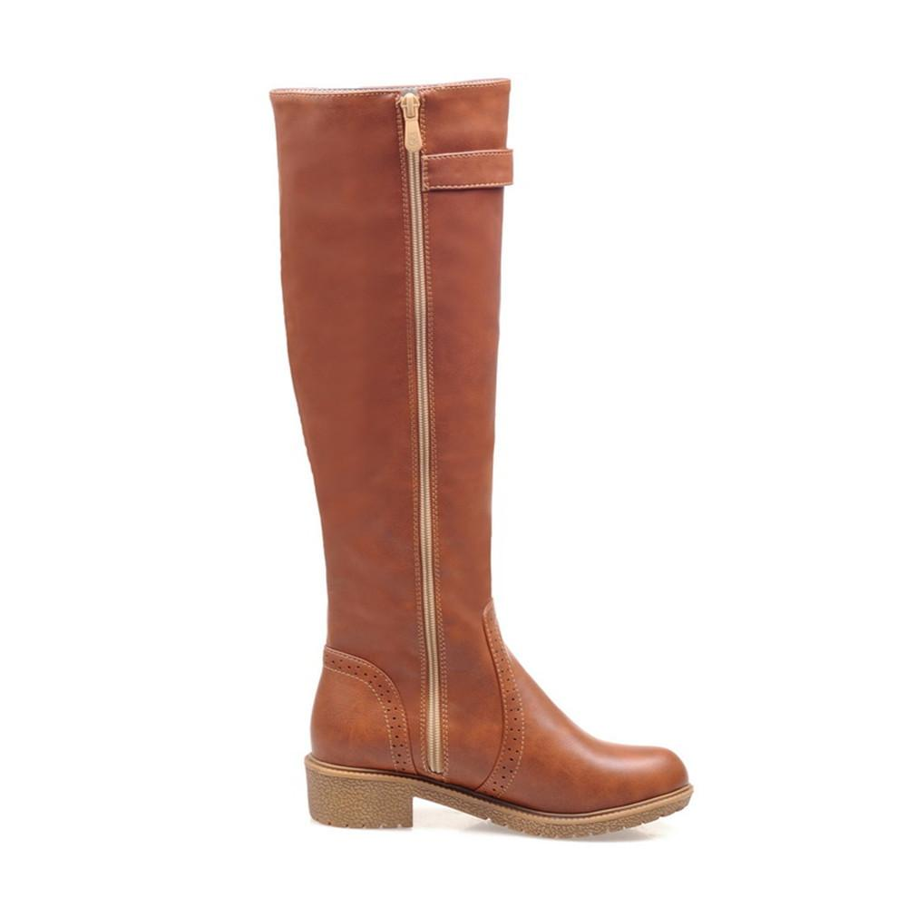 Round Toe High-Knee Riding Boots-BOOTS-SheSimplyShops