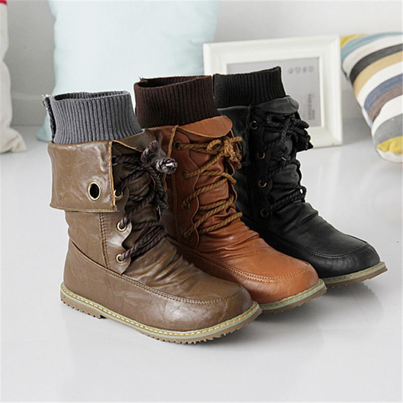 New fashion motorcycle martin ankle boots for women Autumn winter snow boots leather flats shoes-BOOTS-SheSimplyShops