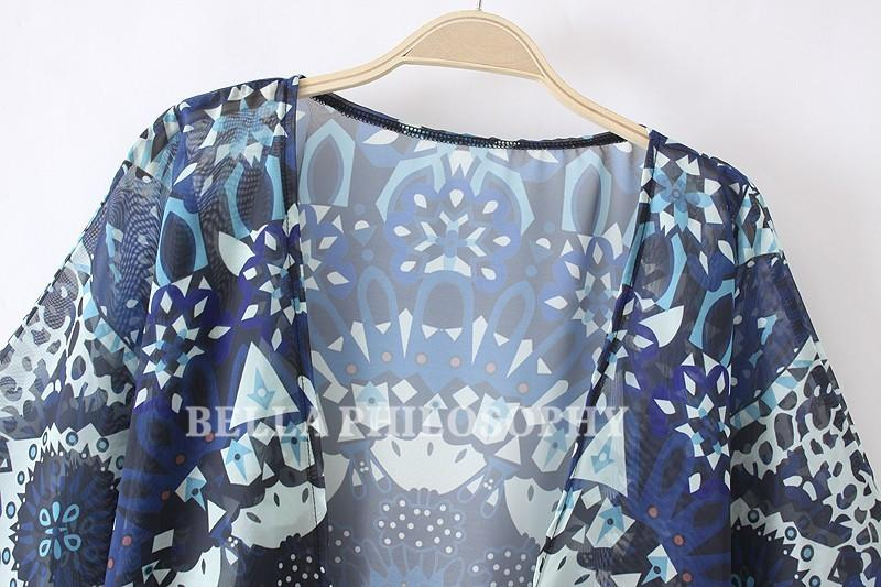 Summer new beach ethnic navy blue floral print short sleeve chiffon kimono shirt bikini cover up-KIMONOS + PONCHOS-SheSimplyShops