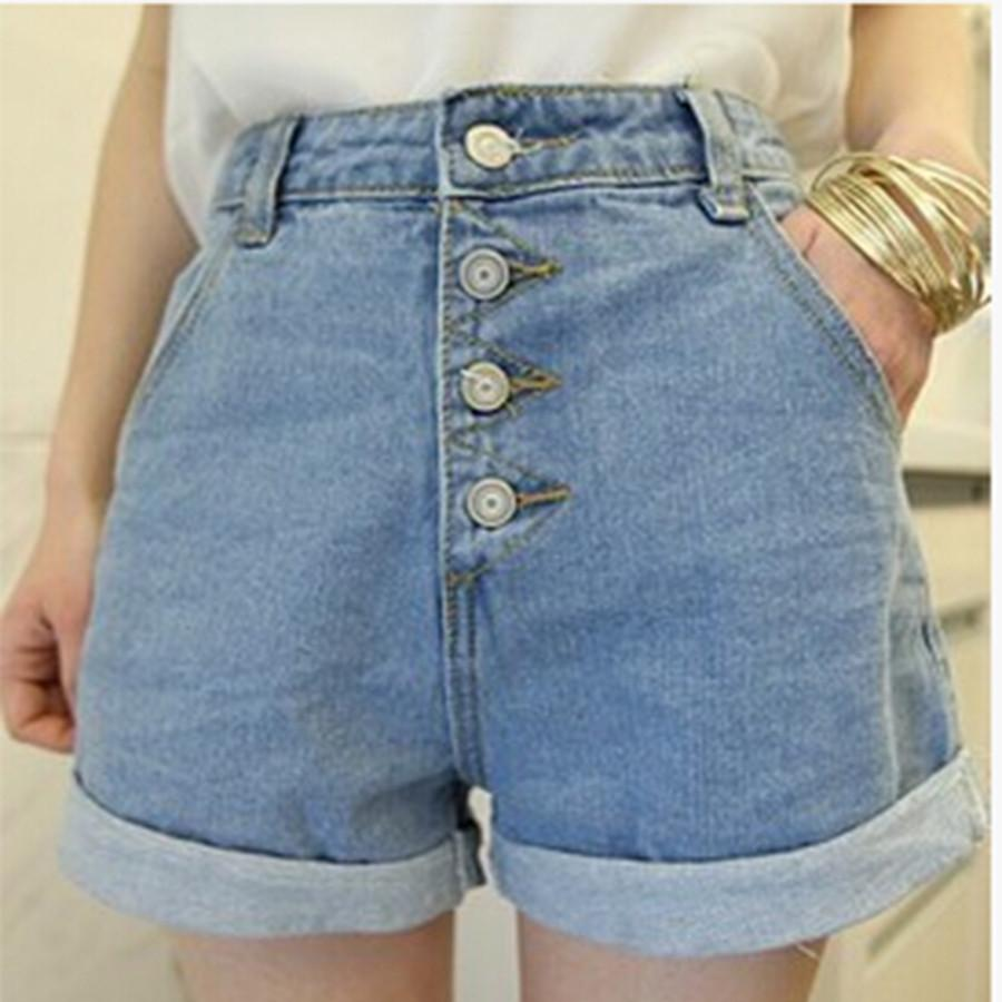 Vintage Summer Korea Style Jeans Hot Shorts For Women Plus Size High Waisted Denim Shorts Wide Leg Button Hotpants Corto XL-JEANS-SheSimplyShops