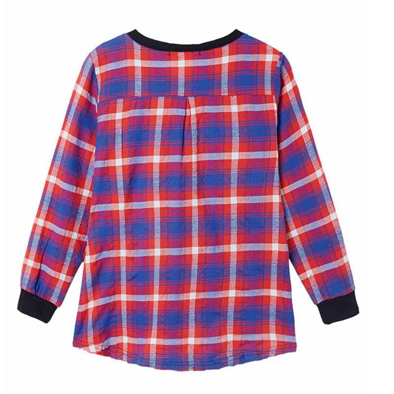 New Arrival Fashion Women Ladies Plaid Checked Long Sleeve Casual Loose Leisure Patchwork Shirts Tops Blouse Plus Size-Blouse-SheSimplyShops