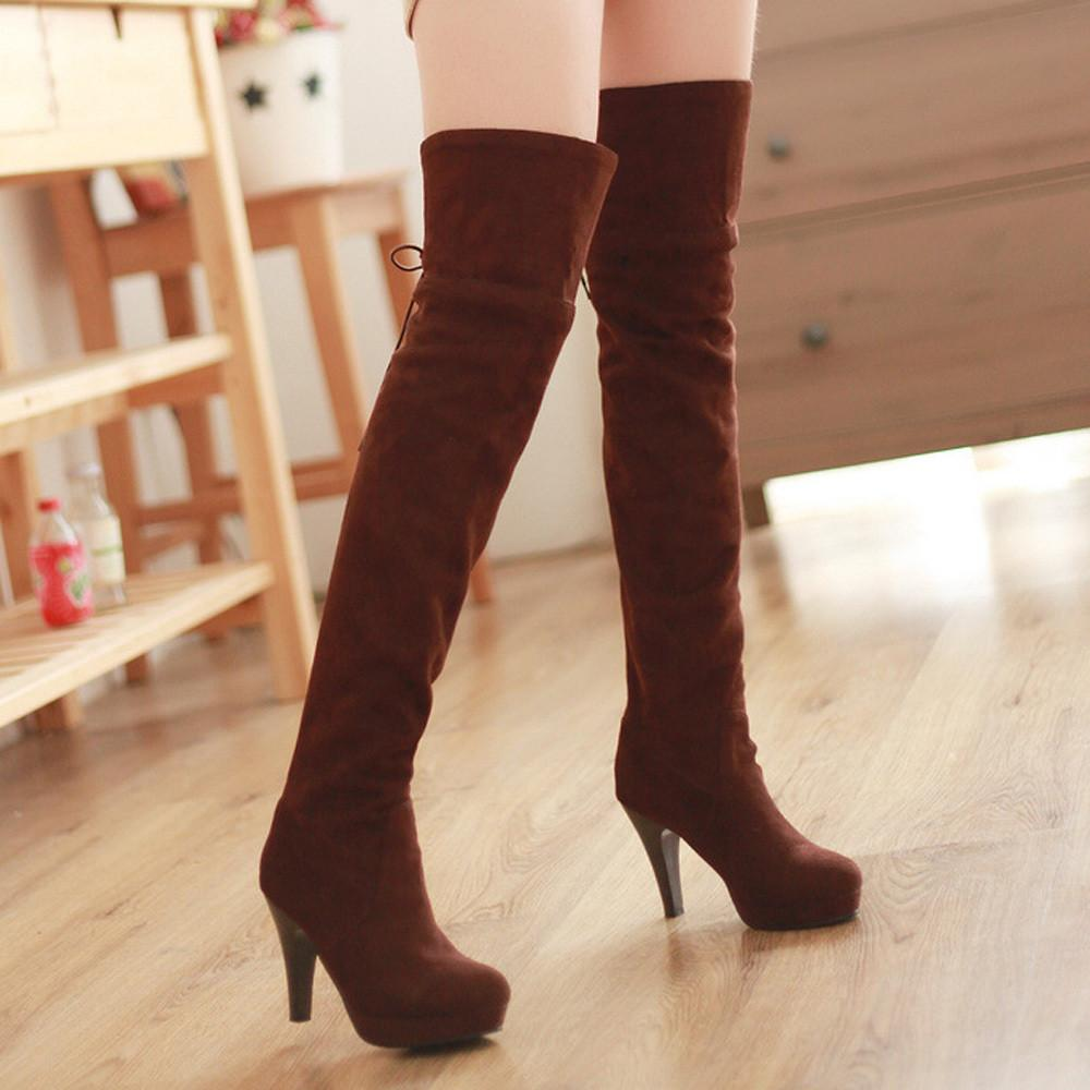 Shoes Women Boots Thigh High Boots Over The Knee Boots Platform Thick High Heels Boots Ladies Shoes Lace Up Brown Big Size 42 43-BOOTS-SheSimplyShops