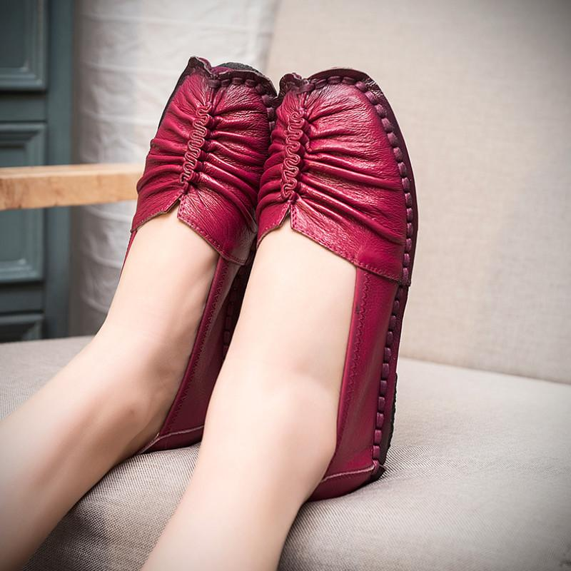 Fashion Loafers Women Shoes Genuine Leather Shoes Handmade Soft Comfortable Flat Shoes Woman Casual Shoes Women Flats-SLIPS-SheSimplyShops