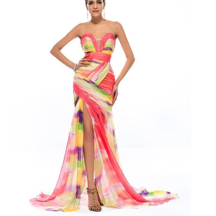 DressV Colorful Print Mermaid Long Evening Dress Chiffon Sweetheart Ruched Sexy Split Front Formal Dresses Party Prom Gowns-Dress-SheSimplyShops