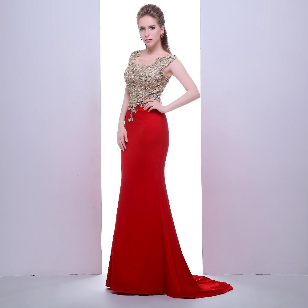 Noble Prom Dresses New Fashion with O-neck Sleeveless Appliques Stone Red Mermaid Formal Evening Dresses-Dress-SheSimplyShops