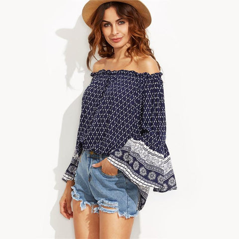 Off The Shoulder Flare Sleeve Blouse-tops blouses-SheSimplyShops