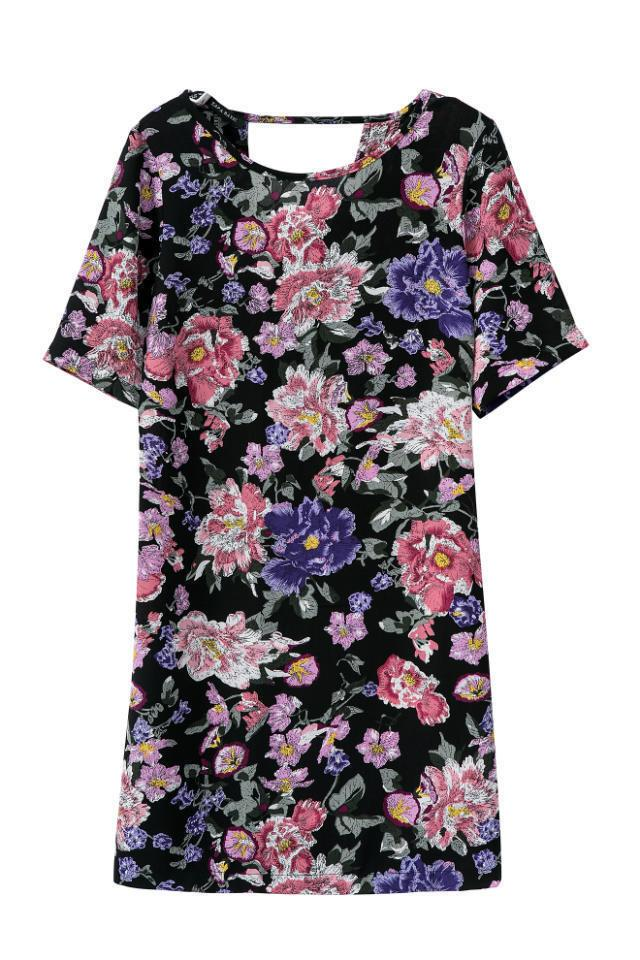 Factory outlets new Womenswear vintage retro flower floral print short sleeve dress-Dress-SheSimplyShops