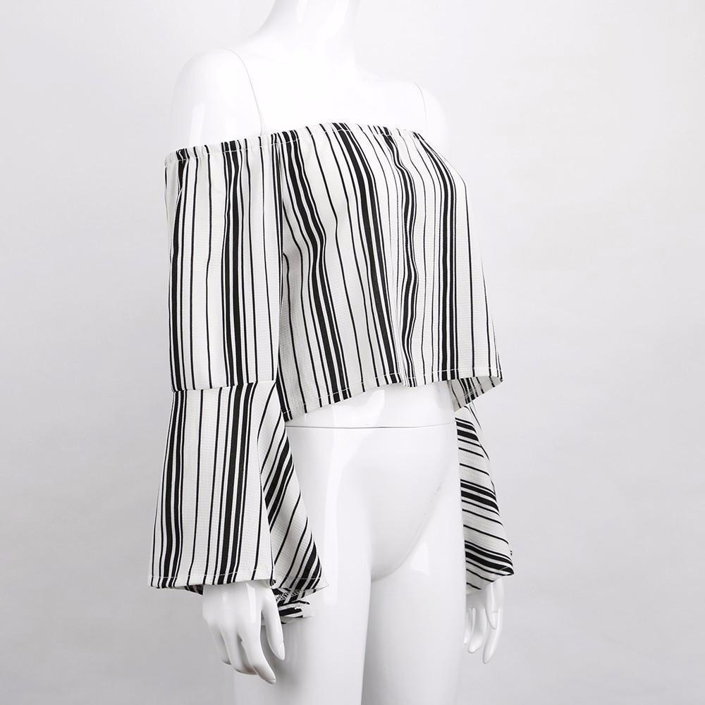 Sexy Long Flare Sleeve Boardwalk Off Shoulder Crop Tops-Tops-SheSimplyShops