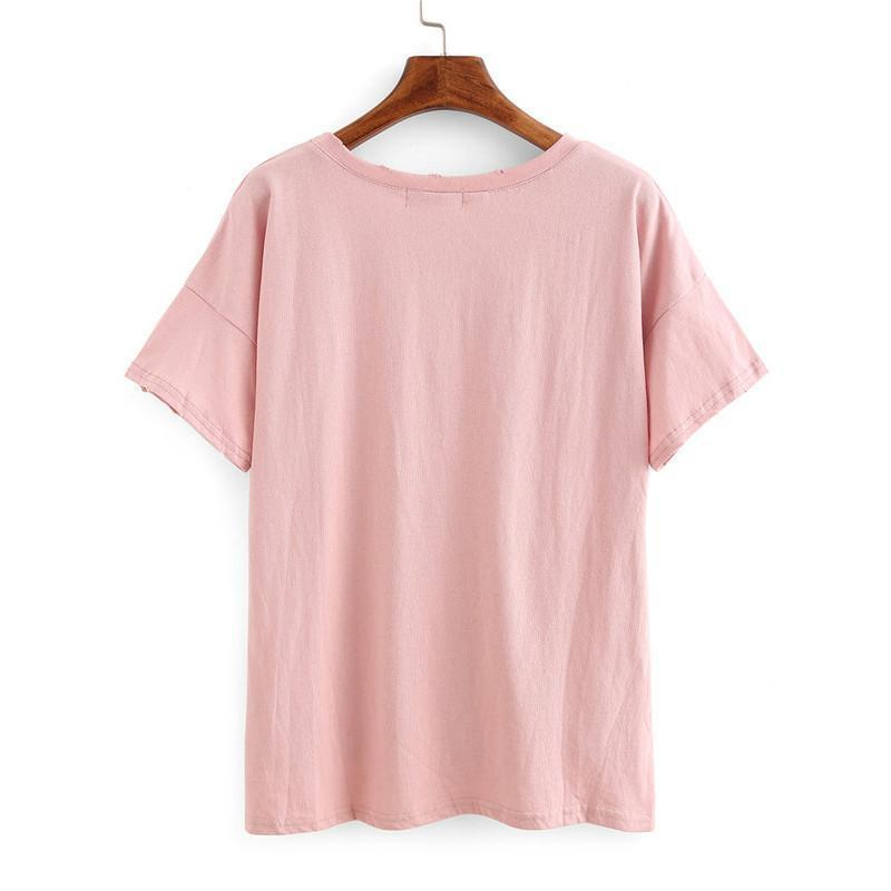 Vogue Ripped High-Low Pocket Tops Summer Style Casual Tees Loose New Arrival Ladies Short Sleeve T-shirt-Bottoms-SheSimplyShops