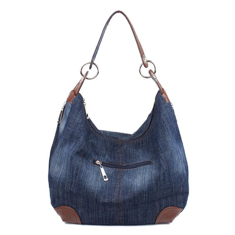 Big Hobo Jean Tote Denim Crossbody Messenger Bag-JEANS-SheSimplyShops