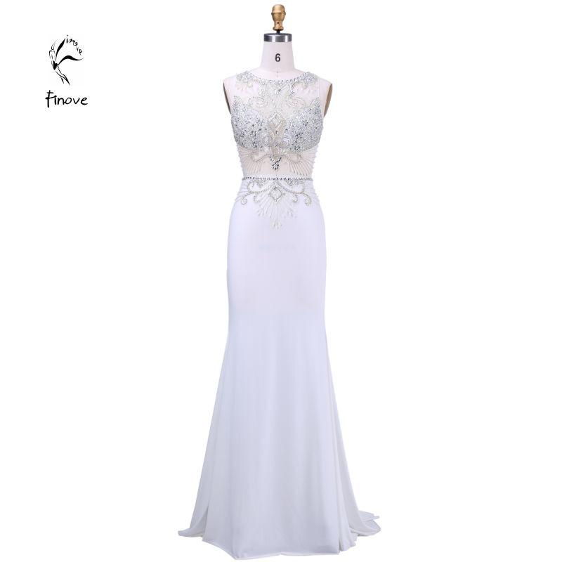 Long Evening Dresses New Arrival Formal Dresses With Scoop-Neck Thank-Sleeve Crystal Beading Floor Length Prom Dreesses-Dress-SheSimplyShops