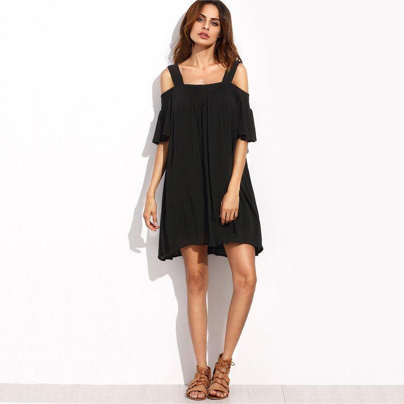 Casual Dresses For Women Summer Ladies Plain Black Cold Shoulder Ruffle Short Sleeve Straight Dress-Dress-SheSimplyShops