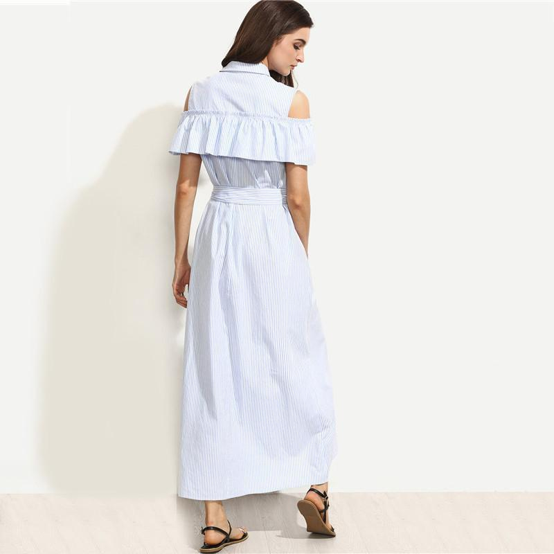 SheIn New Women Long Dresses Summer Ladies Blue Striped Lapel Short Sleeve Cold Shoulder Ruffle Tie Waist Maxi Dress-Dress-SheSimplyShops