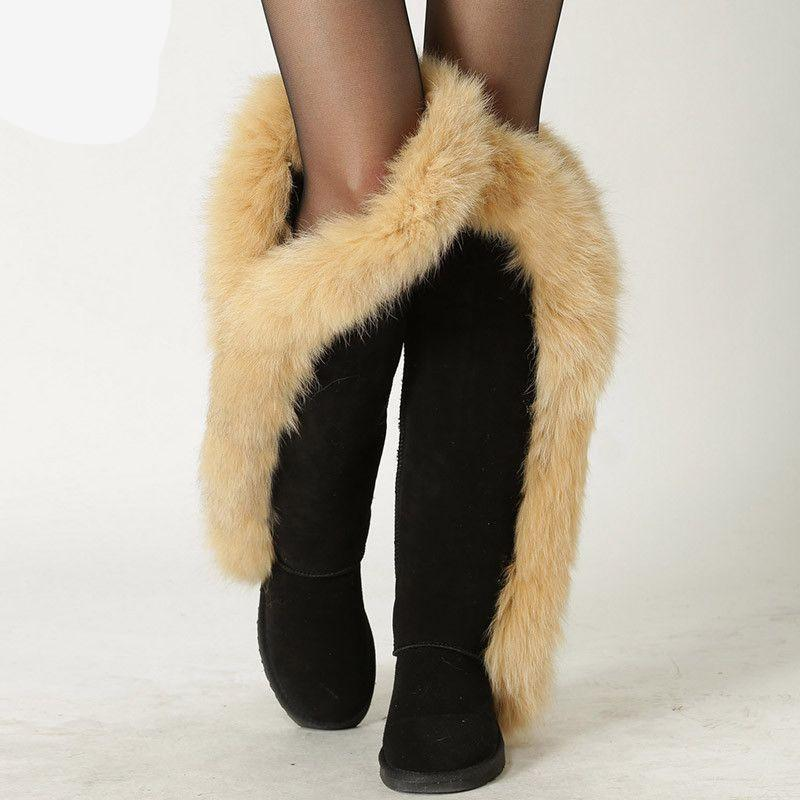 Fox fur Leather Winter Boots-SLIPS-SheSimplyShops