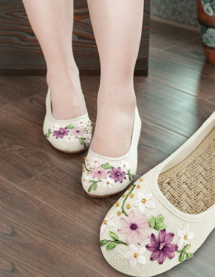 New Women Flower Flats Slip On Cotton Fabric Casual Shoes Comfortable Round Toe Student Flat Shoes Woman Plus Size XWD3644-SLIPS-SheSimplyShops
