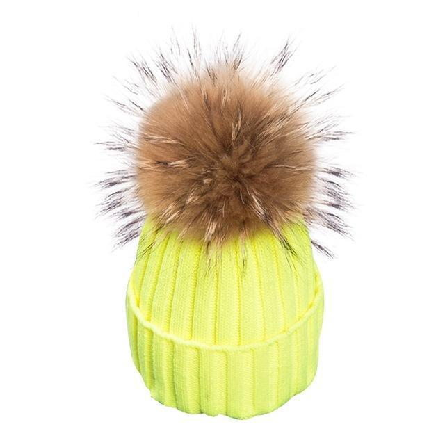 Stylish removable real fur Bobble hats-BEANIES-SheSimplyShops