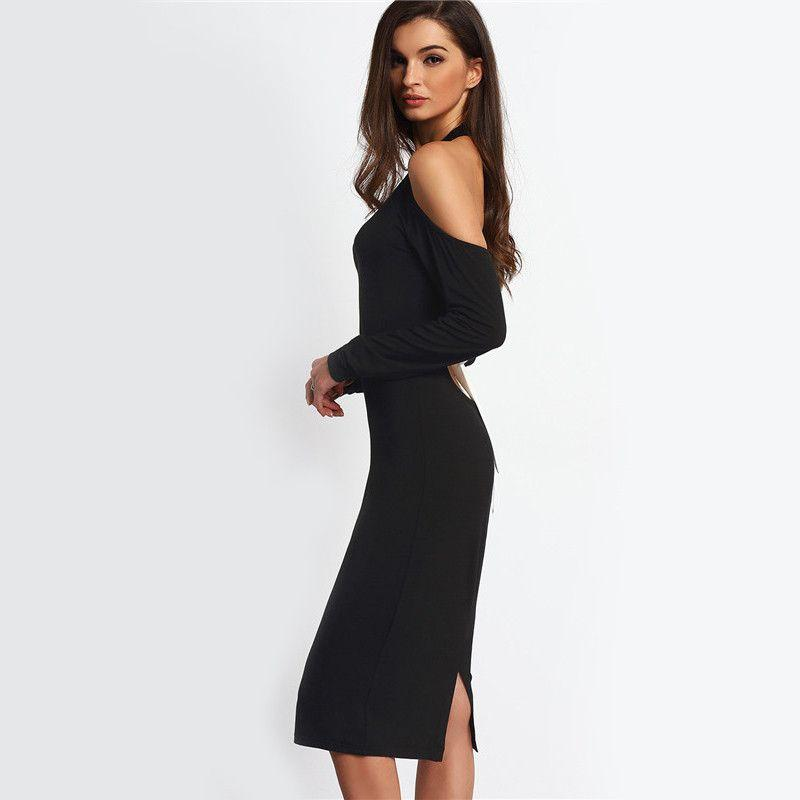 COLROVIE Sexy Women Backless Bodycon Pencil Dress Hollow Out Woman New Arrival Black Open Shoulder Long Sleeve Bow Halter Dress-Dress-SheSimplyShops