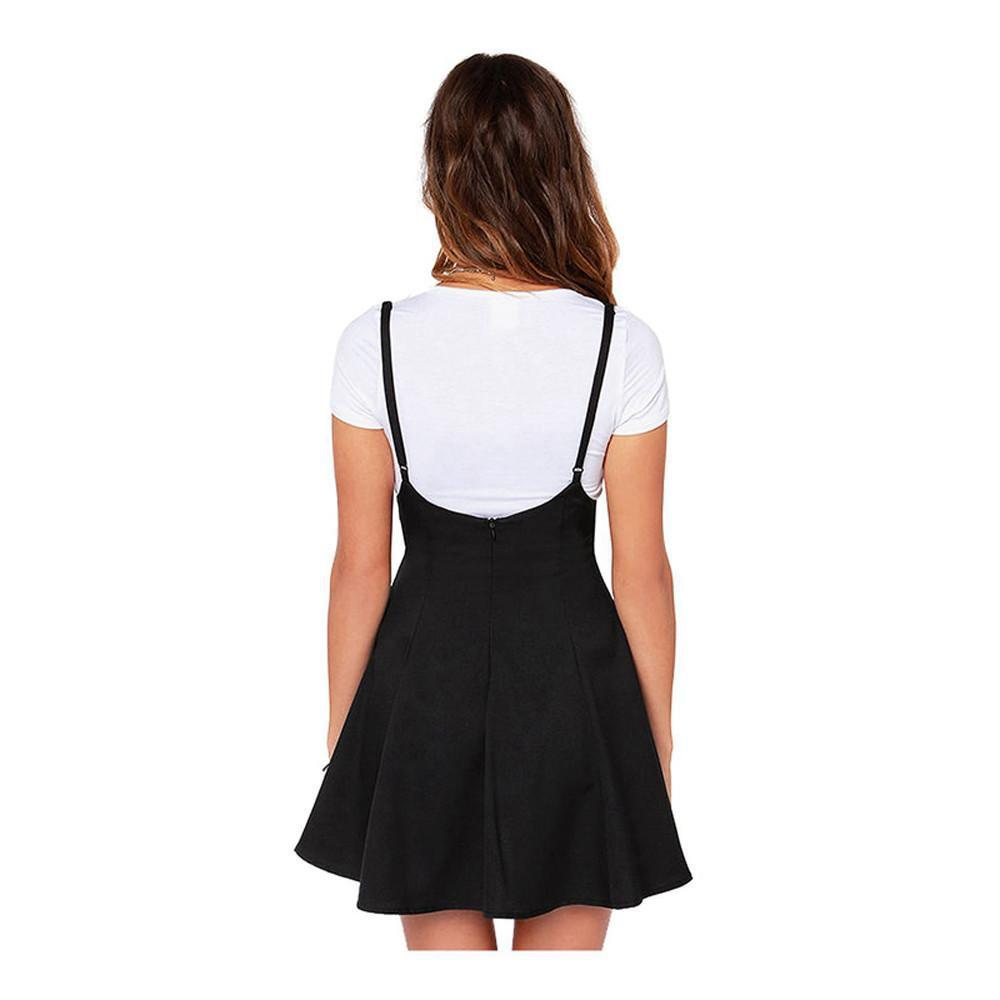 A-Line Sling Solid With Shoulder Straps pleated Mini Skirt-Dress-SheSimplyShops