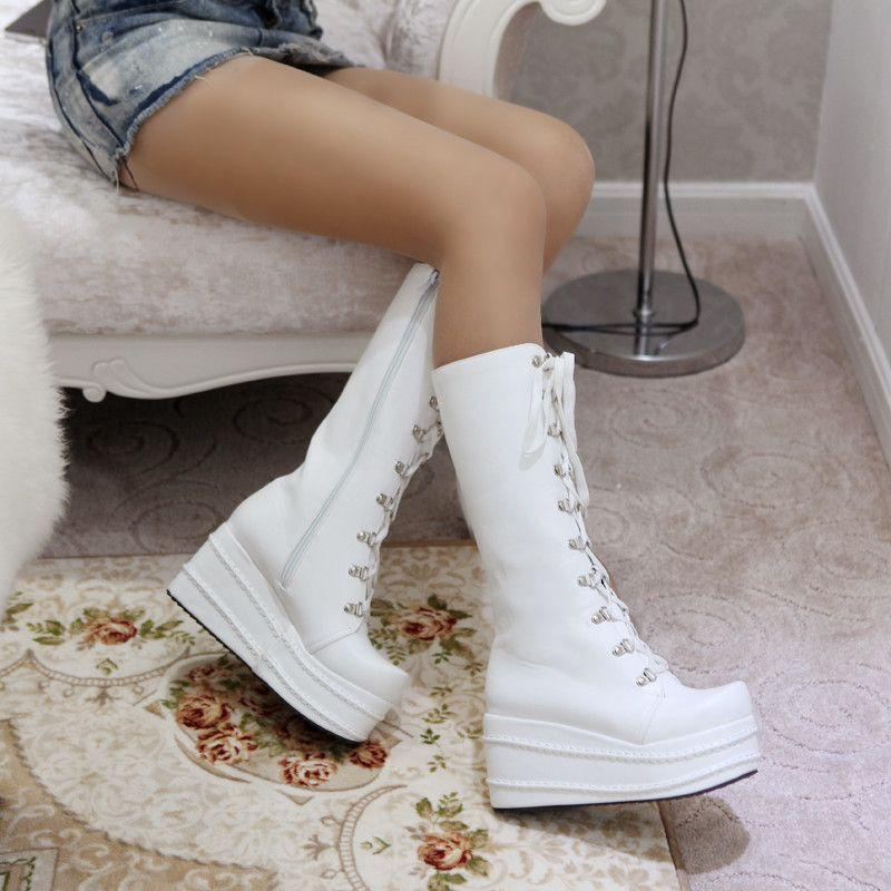 big size 34-43 fashion punk woman shoes cosplay boots knee high heel platform sexy zip winter party wedges boots-BOOTS-SheSimplyShops