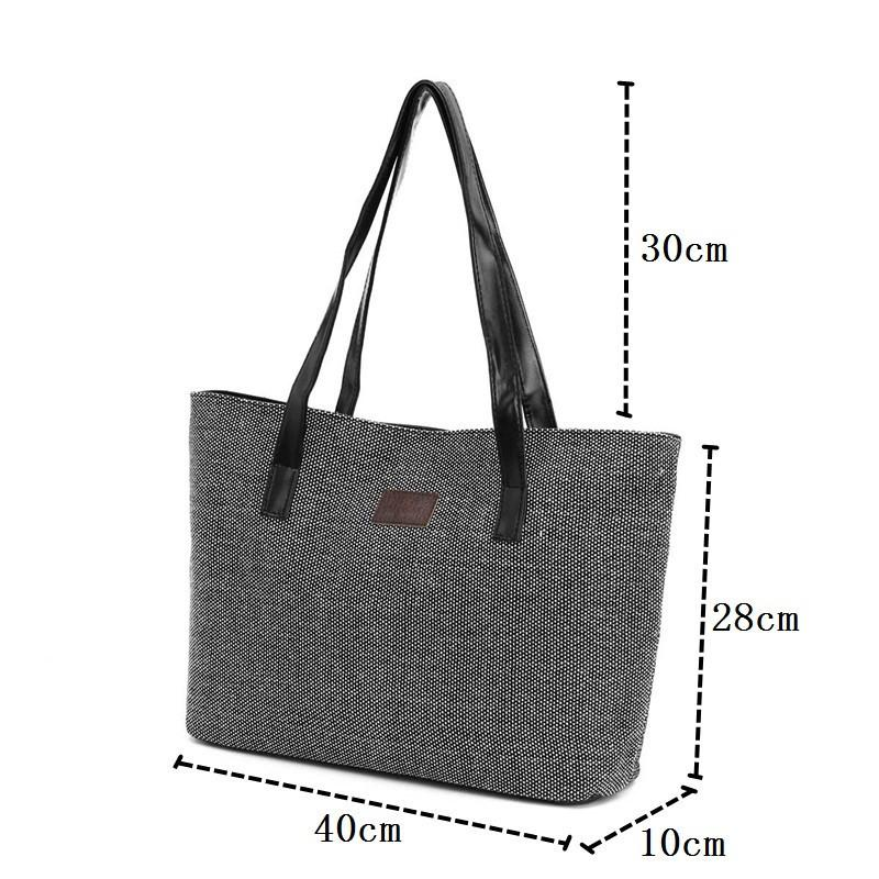 Women Handbag Canvas Shoulder Bags Appliques Portable Bag Large Capacity Lady Shopping Linen Casual Totes Summer Style-BAGS-SheSimplyShops