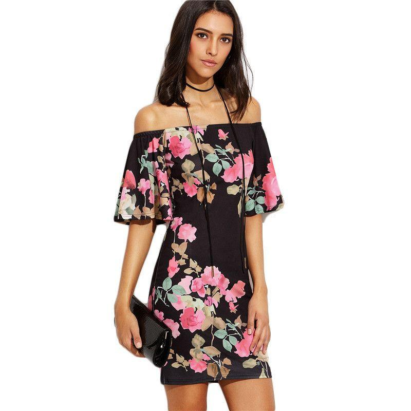 COLROVIE Multicolor Floral Print Off The Shoulder Bodycon Short Dress Sexy Ladies Half Sleeve Sheath Mini Dress-Dress-SheSimplyShops