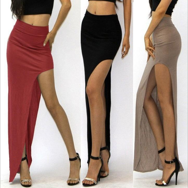 novelty Skirt Sexy Women Long Skirts Lady Empire Open Side Split Skirt high waist High Slit Long Maxi Skirts-Dress-SheSimplyShops
