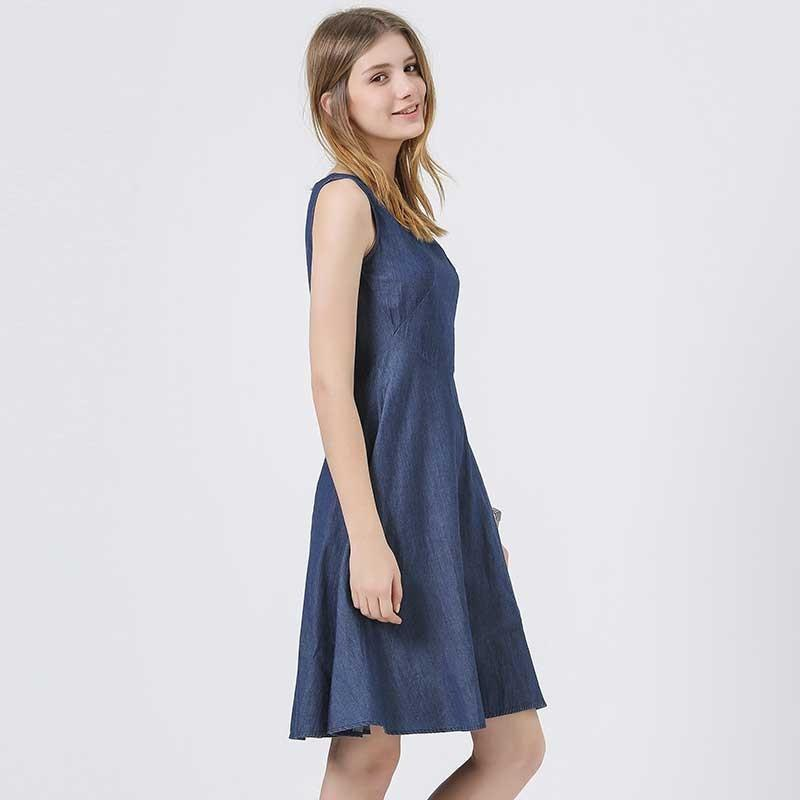 HEE GRAND New Trend Sleeveless Women Denim Dress Ladies Simple High Waist Summer Dresses Vestidoes WQW1611-Dress-SheSimplyShops