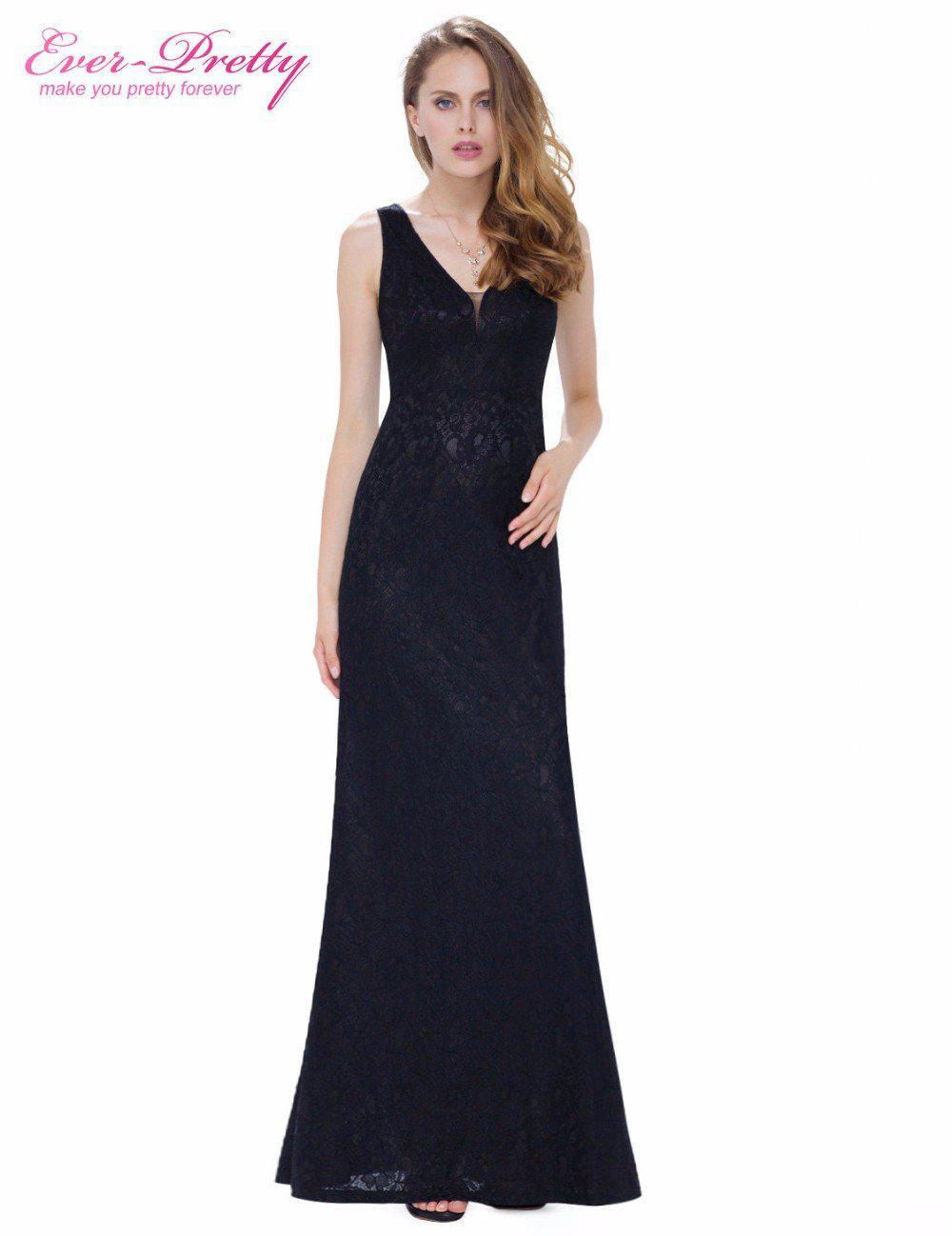Formal Evening Dresses Long Ever Pretty Women Elegant Black Red V neck Sleeveless Evening Dresses-Dress-SheSimplyShops