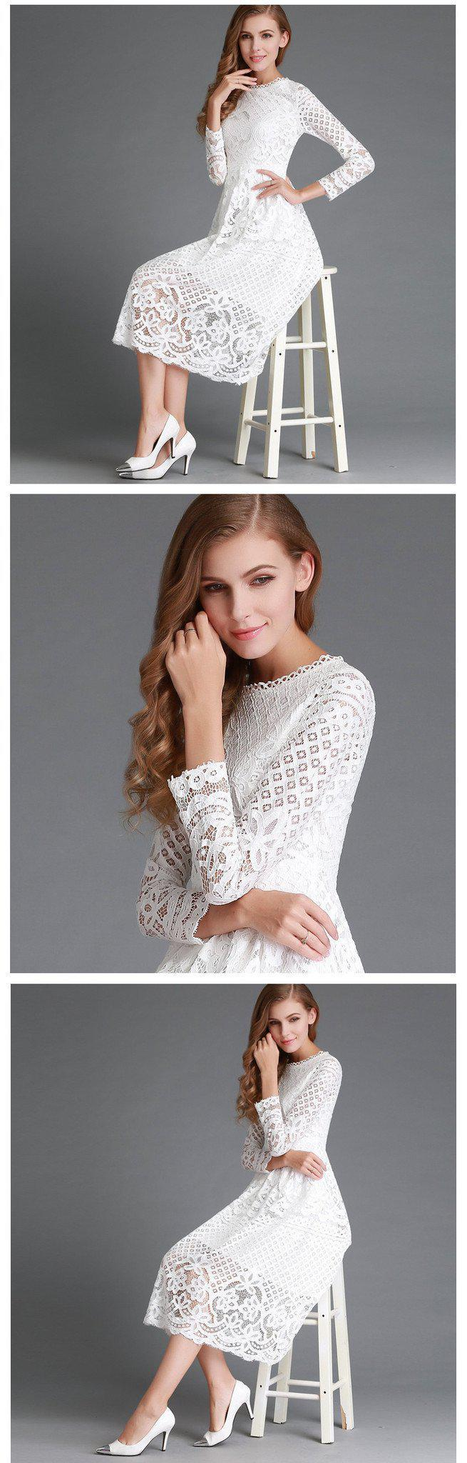 New Autumn Fashion Hollow Out Elegant White Lace Elegant Party Dress High Quality Women Long Sleeve Casual Dresses-Dress-SheSimplyShops
