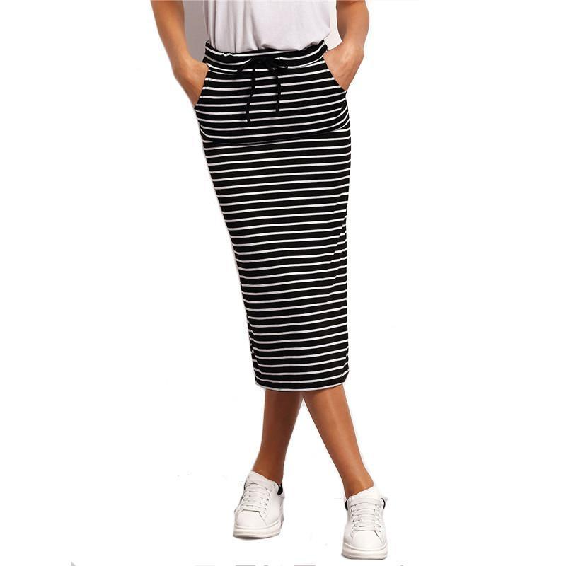 SheIn Ladies Vintage High Quality Famous Brand European Style Skirts Black White Drawstring Waist Striped Pockets Skirt-Dress-SheSimplyShops