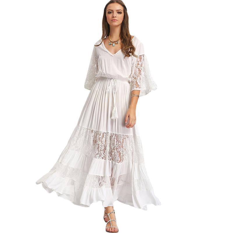 Womens Summer Maxi Dresses Plain White Lace V Neck Three Quarter Length Sleeve Tie Waist Vintage A Line Dress-Dress-SheSimplyShops