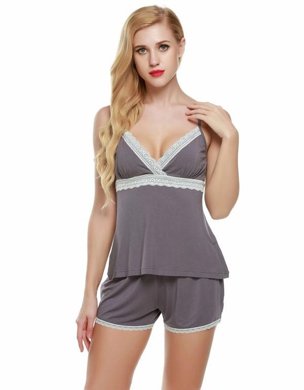 Sexy Halter Sleep Shorts Solid Lace Pajamas sets-SHORTS-SheSimplyShops