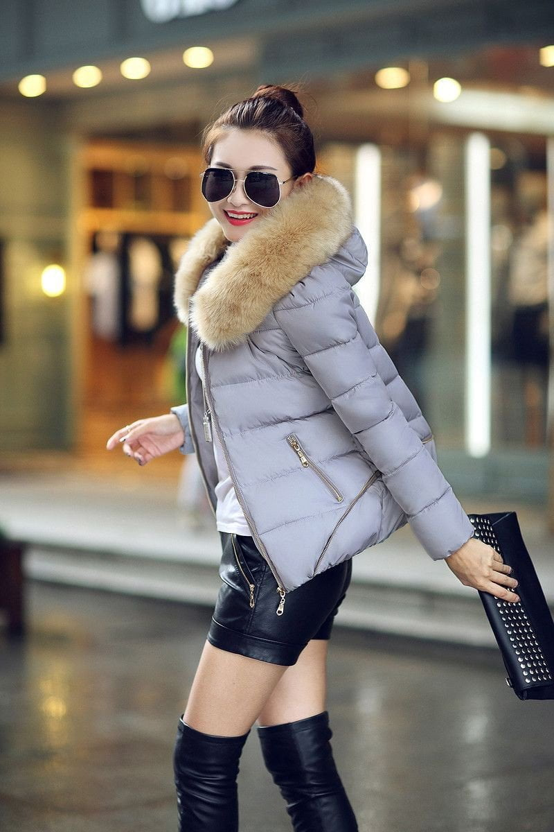 Fur Collar Cotton-padded Jacket-Coats & Jackets-SheSimplyShops