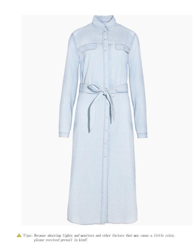 HDY Haoduoyi Women Retro Denim Dress Front Belt Casual Vintage Dress Women Blue Solid Midi Shirt Dress Robe Femme Vestido-Dress-SheSimplyShops