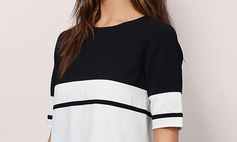 White Black Striped Women Dress Casual Straight Back Zipper Dresses Summer O-Neck Mini Ladies' Dresses-Dress-SheSimplyShops