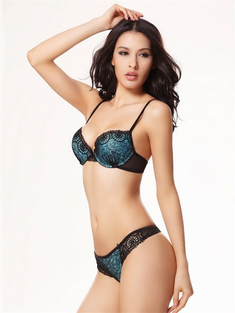 boutique bra sexy woman blue and white lingerie bra sets-SheSimplyShops