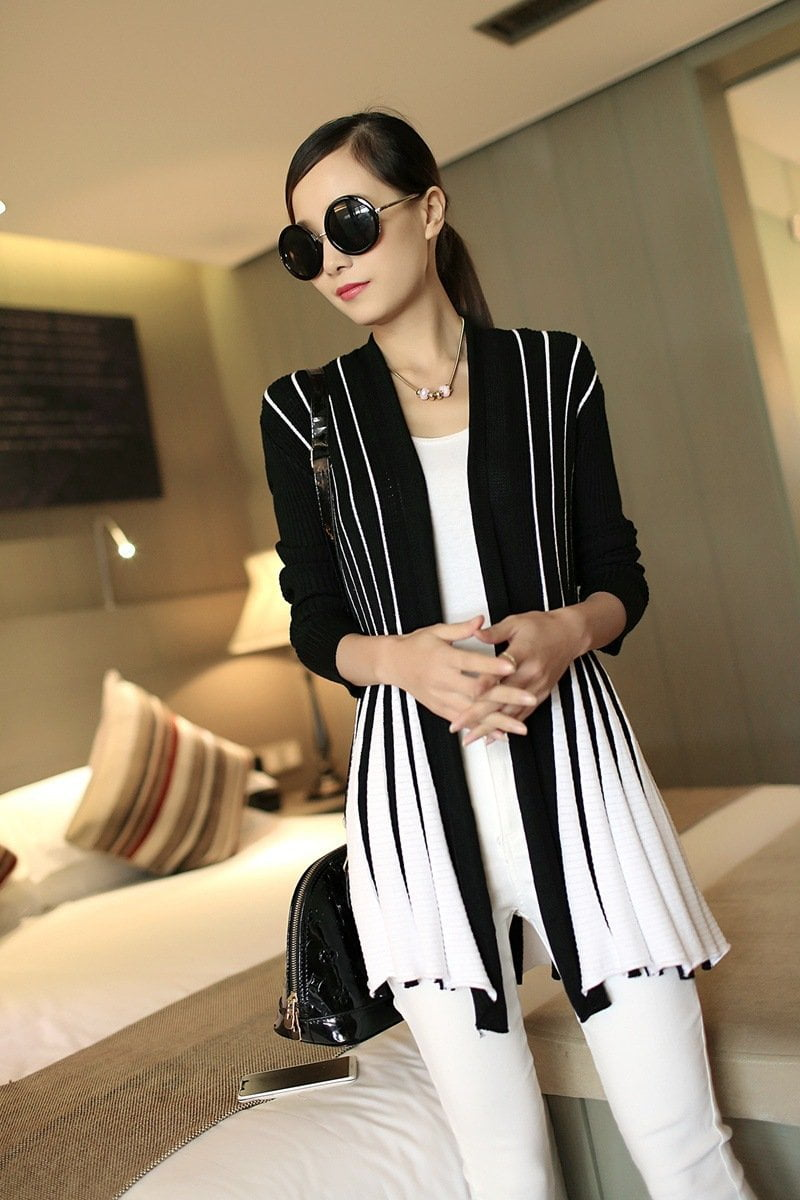 Stripes Print Long Sleeve Cardigan-SWEATERS + CARDIGANS-SheSimplyShops