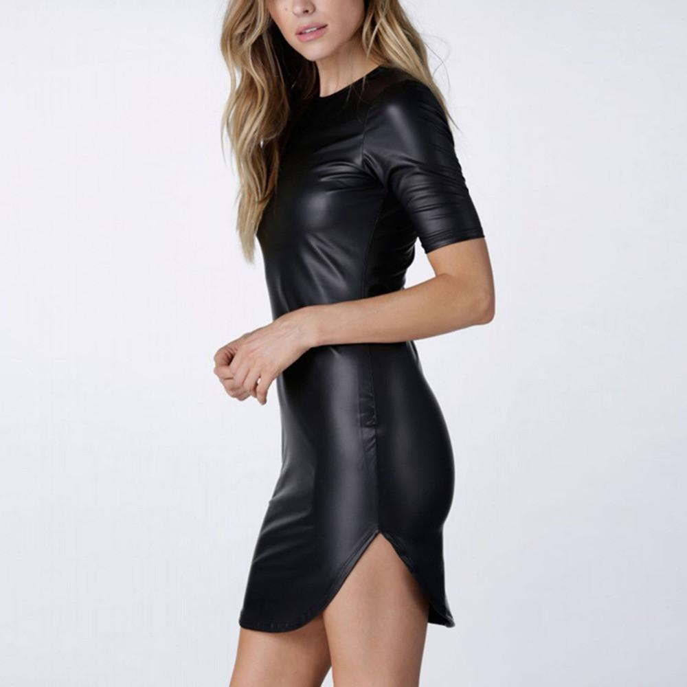 Sexy Faux PU Leather Wet Look Mini Dress-Dress-SheSimplyShops
