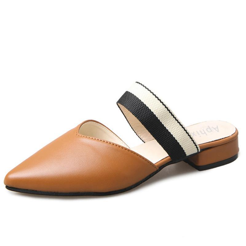 Pointed Toe Brown Mules-SLIPS-SheSimplyShops